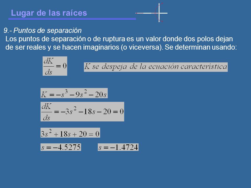 Lugar de las raíces 9.- Puntos de separación Los puntos de separación o de ruptura es un valor donde dos polos dejan de ser reales y se hacen imaginarios (o viceversa).