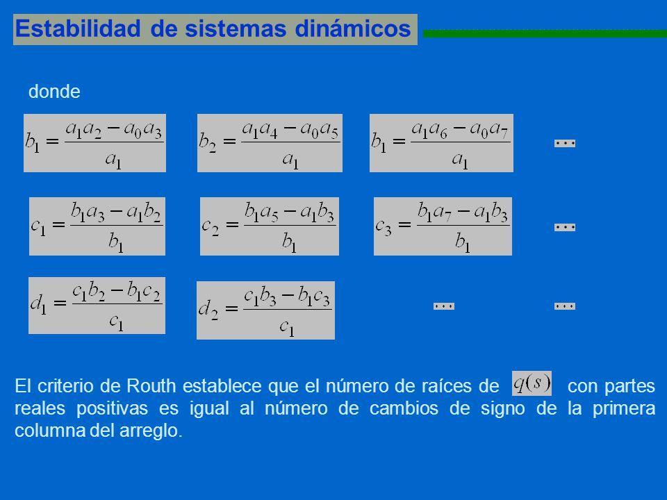 Estabilidad de sistemas dinámicos 1111111111111111111111111111111111111111111111111111111 donde El criterio de Routh establece que el número de raíces de con partes reales positivas es igual al número de cambios de signo de la primera columna del arreglo.