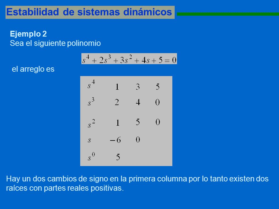 Estabilidad de sistemas dinámicos 1111111111111111111111111111111111111111111111111111111 Ejemplo 2 Sea el siguiente polinomio el arreglo es Hay un do