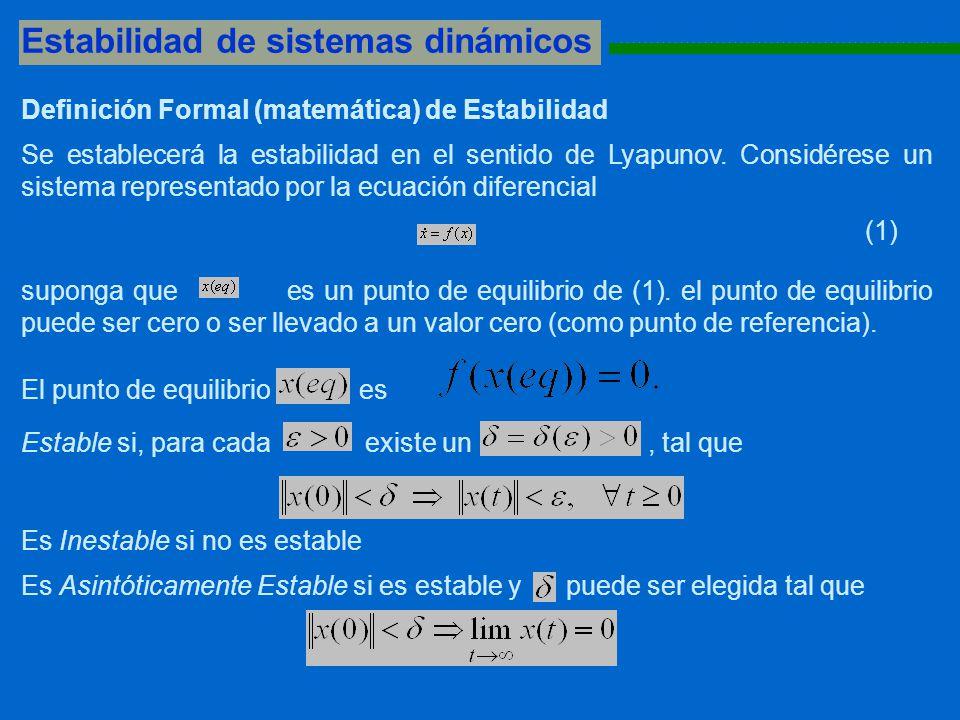 Estabilidad de sistemas dinámicos 1111111111111111111111111111111111111111111111111111111 Definición Formal (matemática) de Estabilidad Se establecerá la estabilidad en el sentido de Lyapunov.