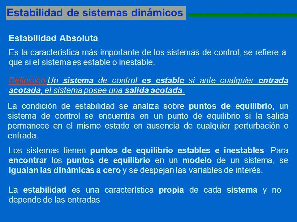 Estabilidad de sistemas dinámicos 1111111111111111111111111111111111111111111111111111111 Los sistemas tienen puntos de equilibrio estables e inestables.