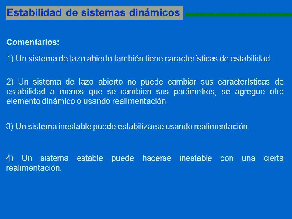 Estabilidad de sistemas dinámicos 1111111111111111111111111111111111111111111111111111111 Comentarios: 1) Un sistema de lazo abierto también tiene car
