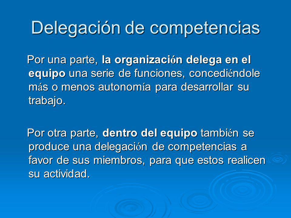 Delegación de competencias Por una parte, la organizaci ó n delega en el equipo una serie de funciones, concedi é ndole m á s o menos autonom í a para