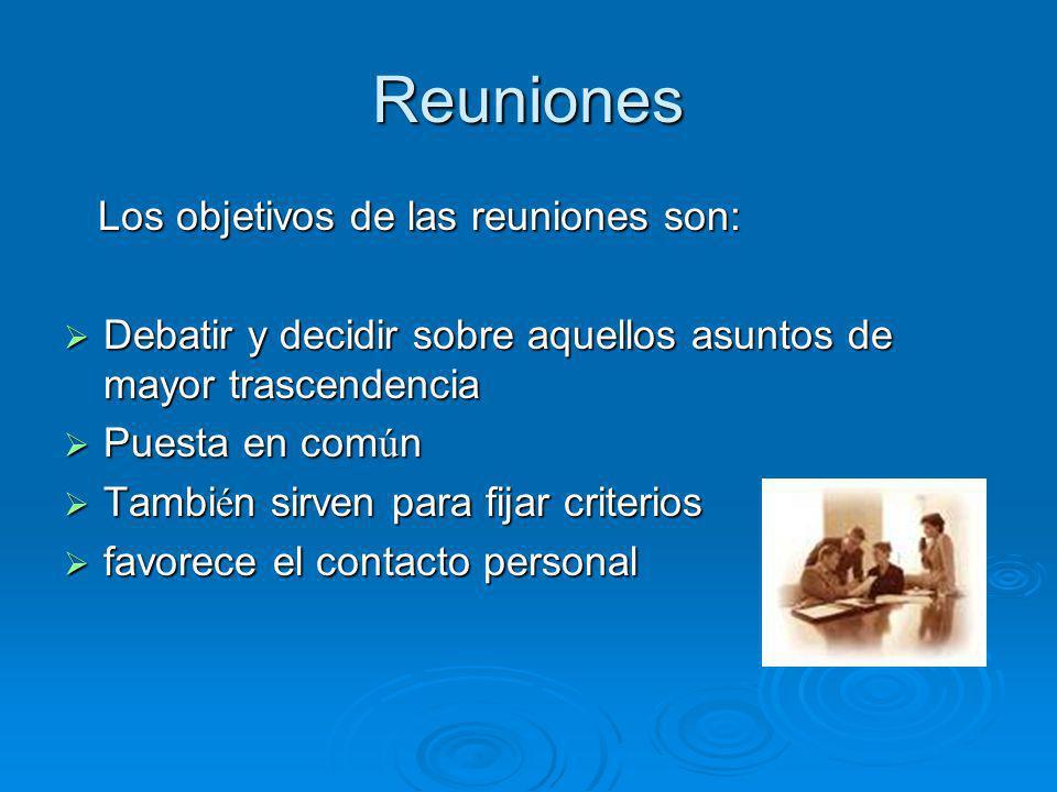 Reuniones Los objetivos de las reuniones son: Los objetivos de las reuniones son: Debatir y decidir sobre aquellos asuntos de mayor trascendencia Deba