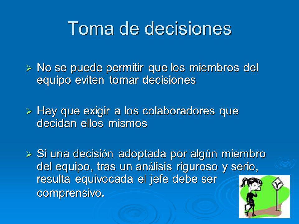 Toma de decisiones No se puede permitir que los miembros del equipo eviten tomar decisiones No se puede permitir que los miembros del equipo eviten to