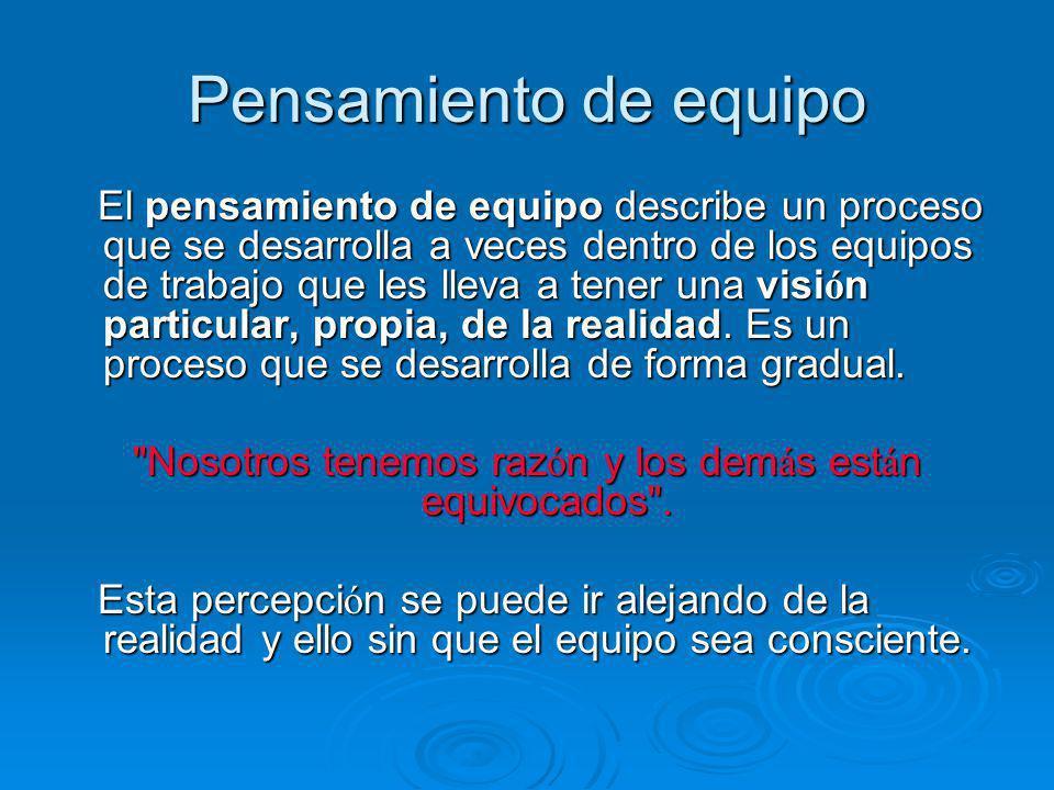 Pensamiento de equipo El pensamiento de equipo describe un proceso que se desarrolla a veces dentro de los equipos de trabajo que les lleva a tener un