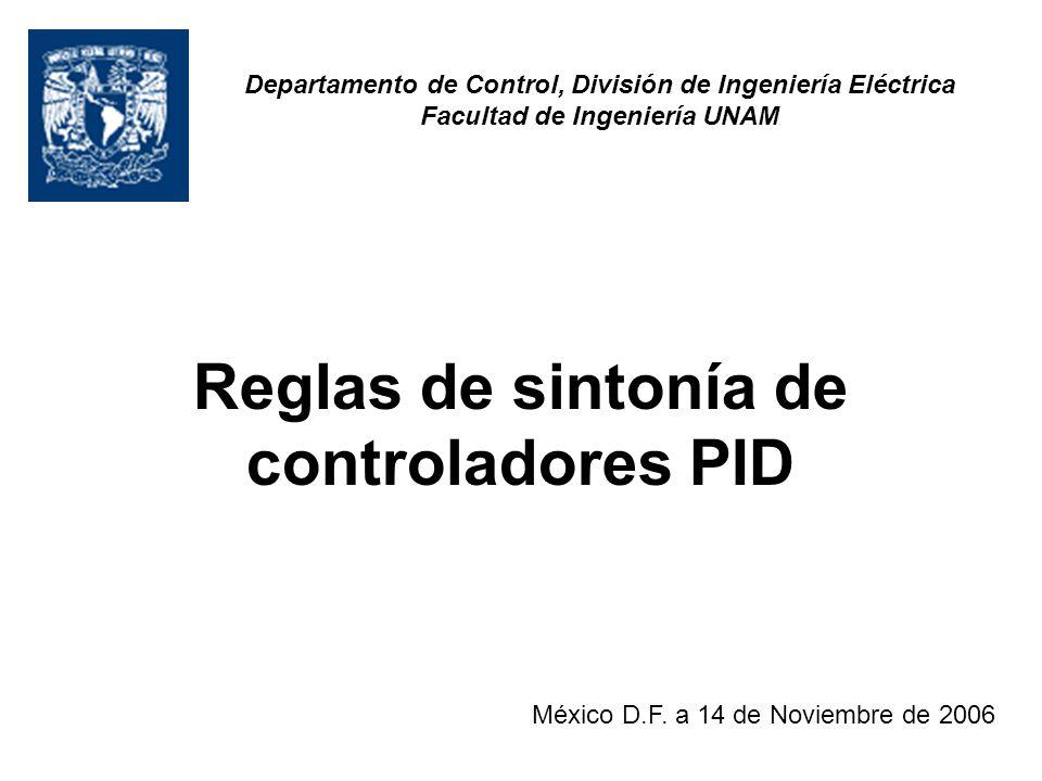 Reglas de sintonía de controladores PID México D.F. a 14 de Noviembre de 2006 Departamento de Control, División de Ingeniería Eléctrica Facultad de In