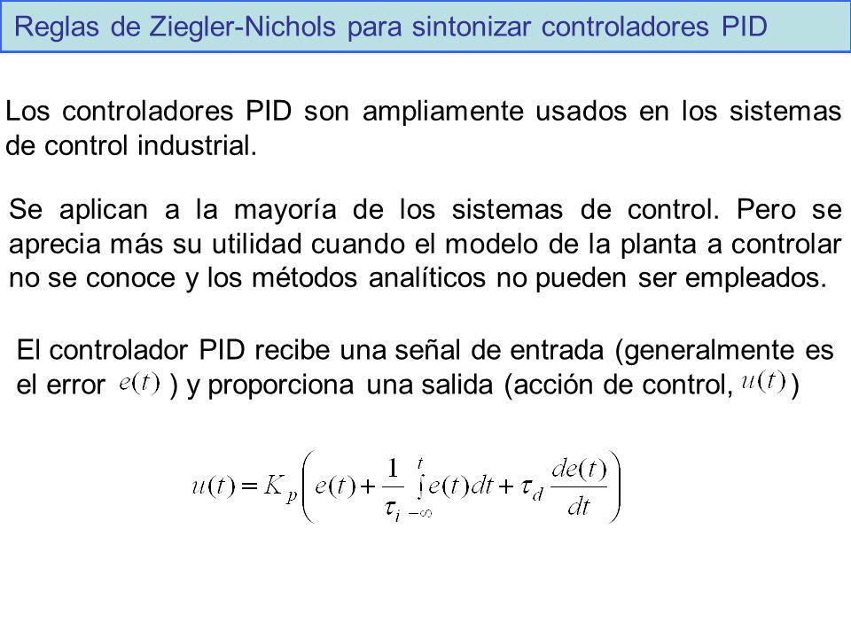 Reglas de Ziegler-Nichols para sintonizar controladores PID Los controladores PID son ampliamente usados en los sistemas de control industrial. Se apl