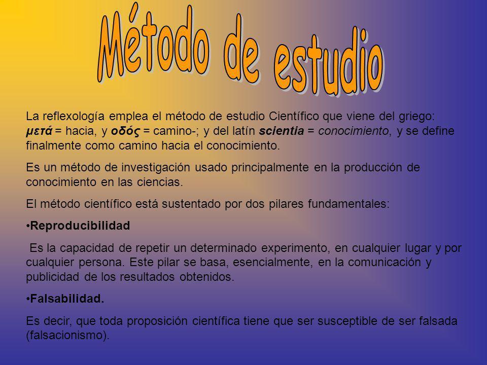 La reflexología emplea el método de estudio Científico que viene del griego: μετά = hacia, y οδός = camino-; y del latín scientia = conocimiento, y se