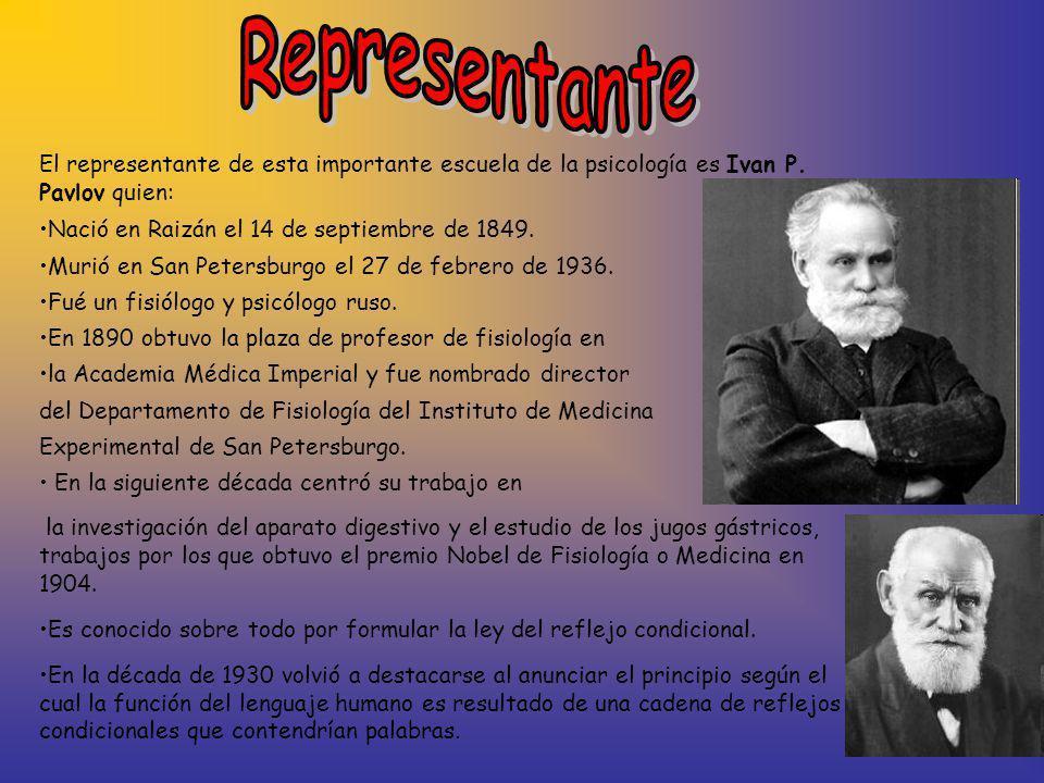 El representante de esta importante escuela de la psicología es Ivan P. Pavlov quien: Nació en Raizán el 14 de septiembre de 1849. Murió en San Peters