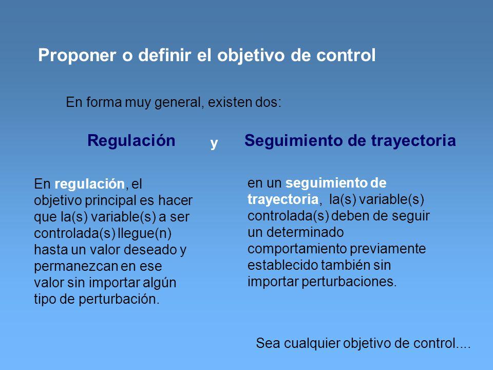 Proponer o definir el objetivo de control En forma muy general, existen dos: Regulación y Seguimiento de trayectoria En regulación, el objetivo princi