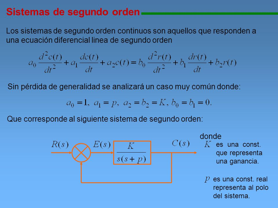 Sistemas de segundo orden 111111111111111111111111111111111111111111111111111111111111111111111111111 Los sistemas de segundo orden continuos son aque