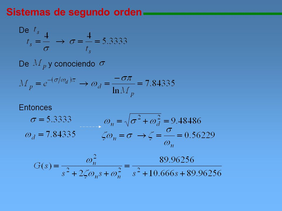Sistemas de segundo orden 111111111111111111111111111111111111111111111111111111111111111111111111111 De De y conociendo Entonces