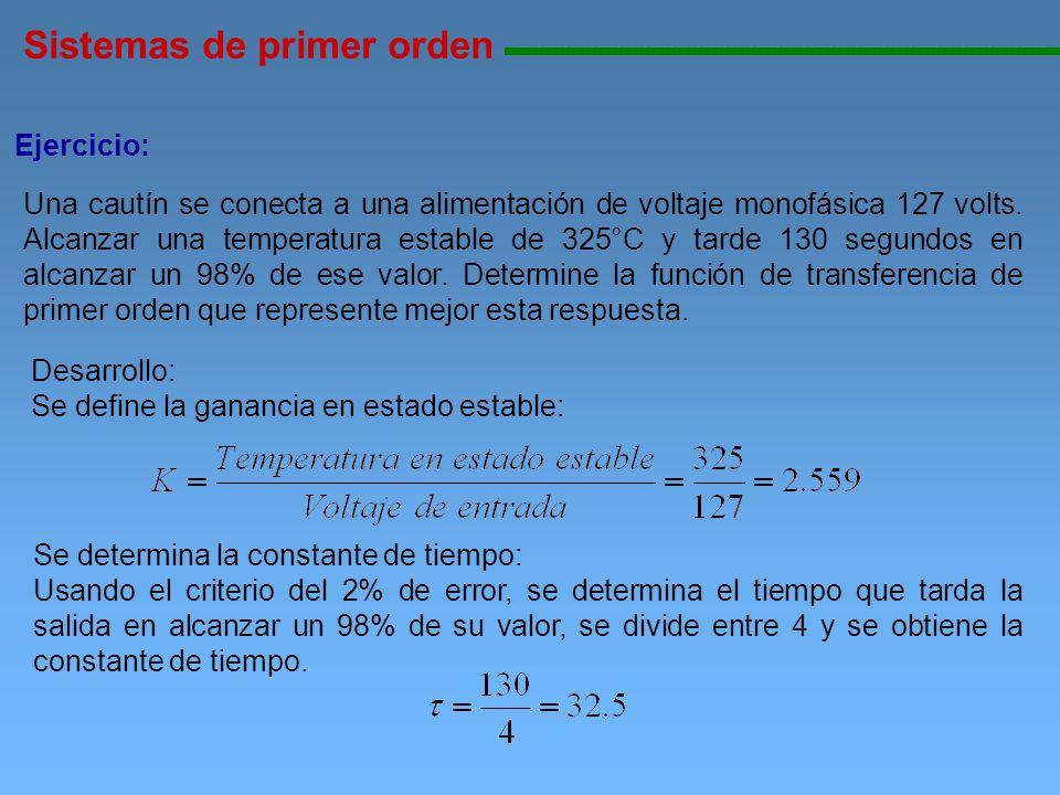 Sistemas de primer orden 11111111111111111111111111111111111111111111111111111111111111111111111111111111 Ejercicio: Una cautín se conecta a una alime