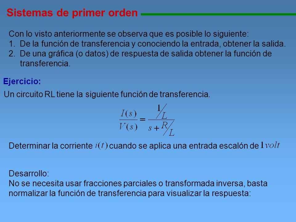 Sistemas de primer orden 11111111111111111111111111111111111111111111111111111111111111111111111111111111 entonces directamente se obtiene la ecuación: Ganancia en estado estable Constante de tiempo