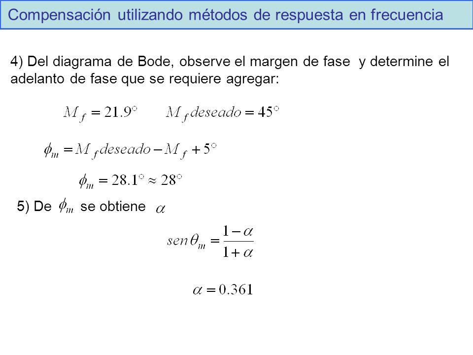 4) Del diagrama de Bode, observe el margen de fase y determine el adelanto de fase que se requiere agregar: 5) De se obtiene