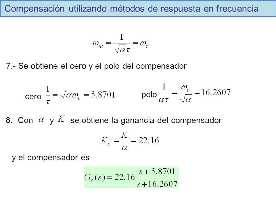 Compensación utilizando métodos de respuesta en frecuencia 7.- Se obtiene el cero y el polo del compensador cero polo 8.- Con y se obtiene la ganancia del compensador y el compensador es