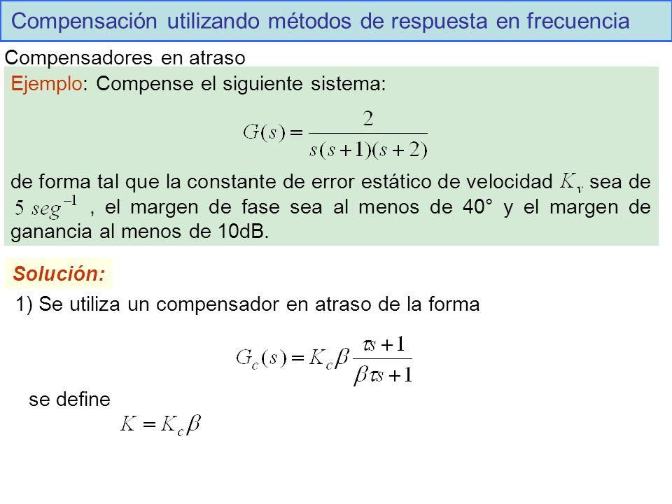 Compensación utilizando métodos de respuesta en frecuencia Compensadores en atraso Ejemplo: Compense el siguiente sistema: de forma tal que la constante de error estático de velocidad sea de., el margen de fase sea al menos de 40° y el margen de ganancia al menos de 10dB.