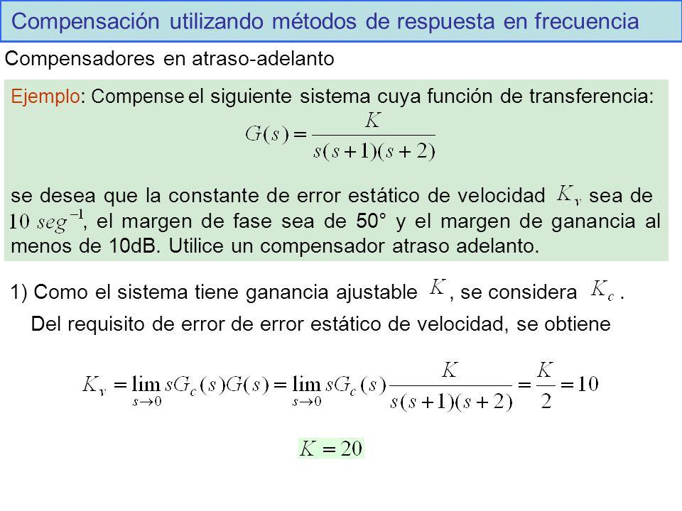 Compensación utilizando métodos de respuesta en frecuencia Compensadores en atraso-adelanto Ejemplo : Compense el siguiente sistema cuya función de transferencia: se desea que la constante de error estático de velocidad sea de.,, el margen de fase sea de 50° y el margen de ganancia al menos de 10dB.