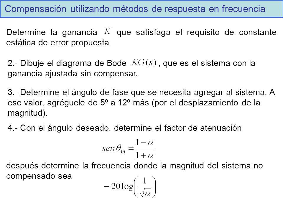 Compensación utilizando métodos de respuesta en frecuencia Determine la ganancia que satisfaga el requisito de constante estática de error propuesta 2.- Dibuje el diagrama de Bode, que es el sistema con la ganancia ajustada sin compensar.