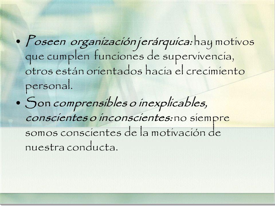 Poseen organización jerárquica: hay motivos que cumplen funciones de supervivencia, otros están orientados hacia el crecimiento personal. Son comprens