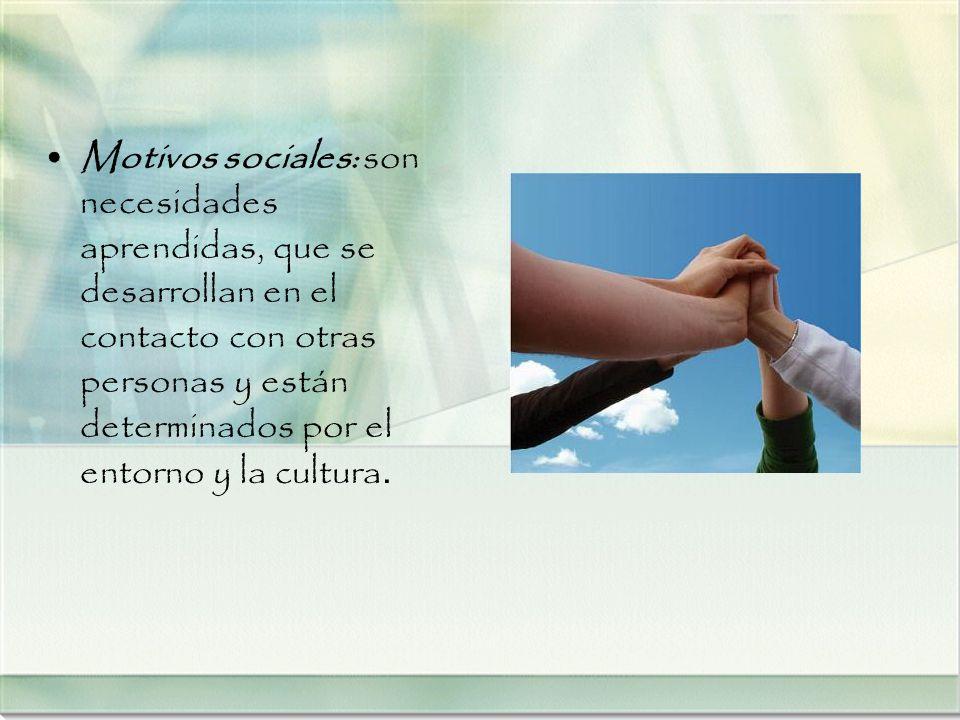Motivos sociales: son necesidades aprendidas, que se desarrollan en el contacto con otras personas y están determinados por el entorno y la cultura.