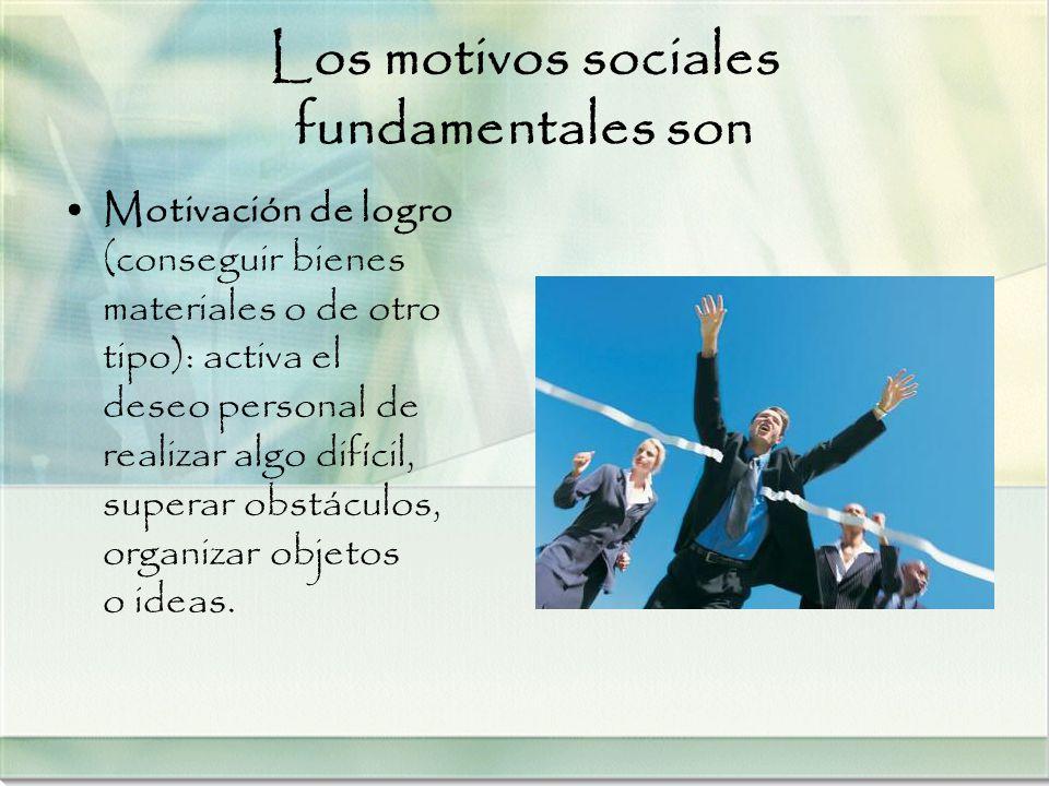 Los motivos sociales fundamentales son Motivación de logro (conseguir bienes materiales o de otro tipo): activa el deseo personal de realizar algo dif