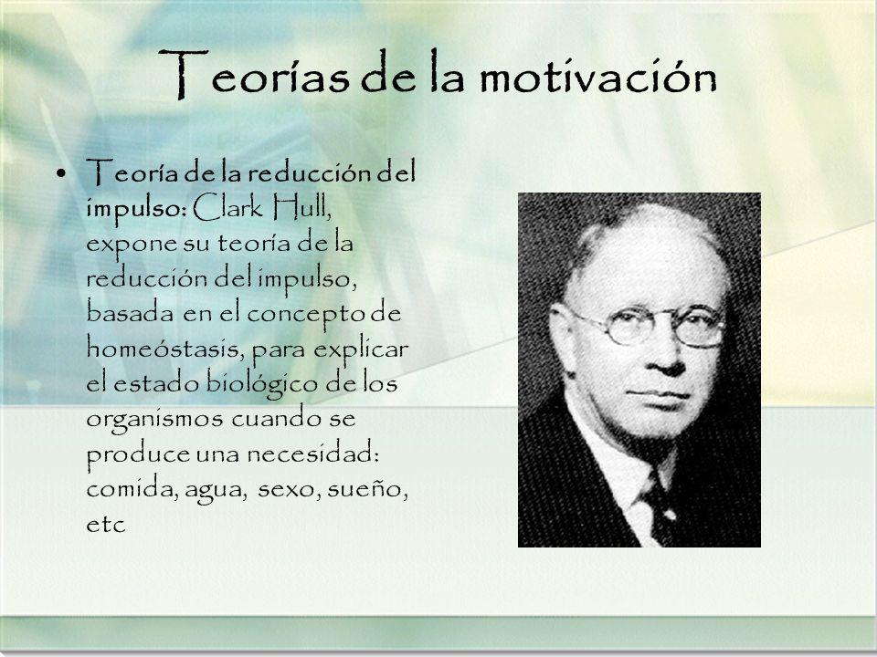 Teorías de la motivación Teoría de la reducción del impulso: Clark Hull, expone su teoría de la reducción del impulso, basada en el concepto de homeós