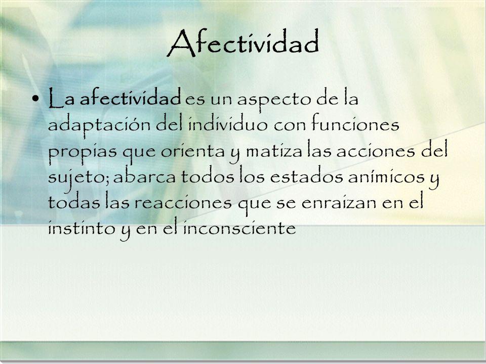 Afectividad La afectividad es un aspecto de la adaptación del individuo con funciones propias que orienta y matiza las acciones del sujeto; abarca tod