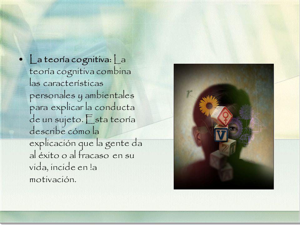La teoría cognitiva: La teoría cognitiva combina las características personales y ambientales para explicar la conducta de un sujeto. Esta teoría desc
