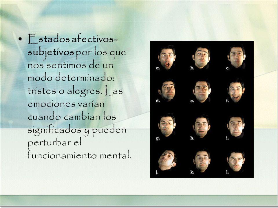 Estados afectivos- subjetivos por los que nos sentimos de un modo determinado: tristes o alegres. Las emociones varían cuando cambian los significados