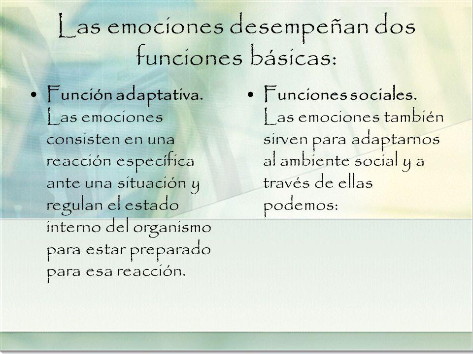 Las emociones desempeñan dos funciones básicas: Función adaptativa. Las emociones consisten en una reacción específica ante una situación y regulan el