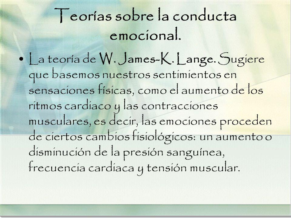 Teorías sobre la conducta emocional. La teoría de W. James-K. Lange. Sugiere que basemos nuestros sentimientos en sensaciones físicas, como el aumento