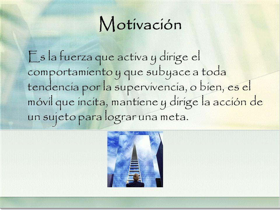 Motivación Es la fuerza que activa y dirige el comportamiento y que subyace a toda tendencia por la supervivencia, o bien, es el móvil que incita, man