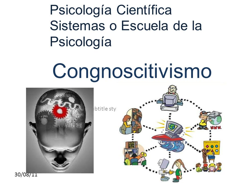 Click to edit Master subtitle style 30/08/11 Congnoscitivismo Psicología Científica Sistemas o Escuela de la Psicología