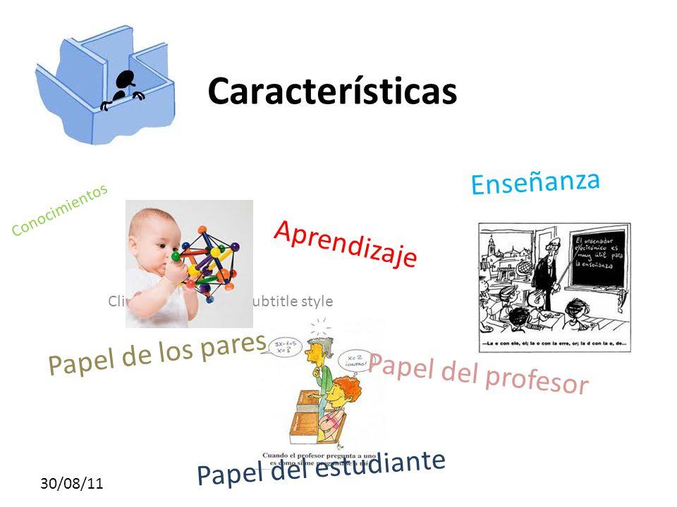Click to edit Master subtitle style 30/08/11 Características Conocimientos Aprendizaje Enseñanza Papel del profesor Papel de los pares Papel del estudiante