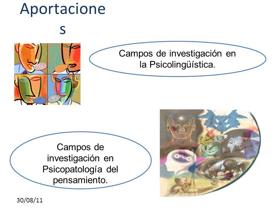 30/08/11 Aportacione s Campos de investigación en la Psicolingüística. Campos de investigación en Psicopatología del pensamiento.