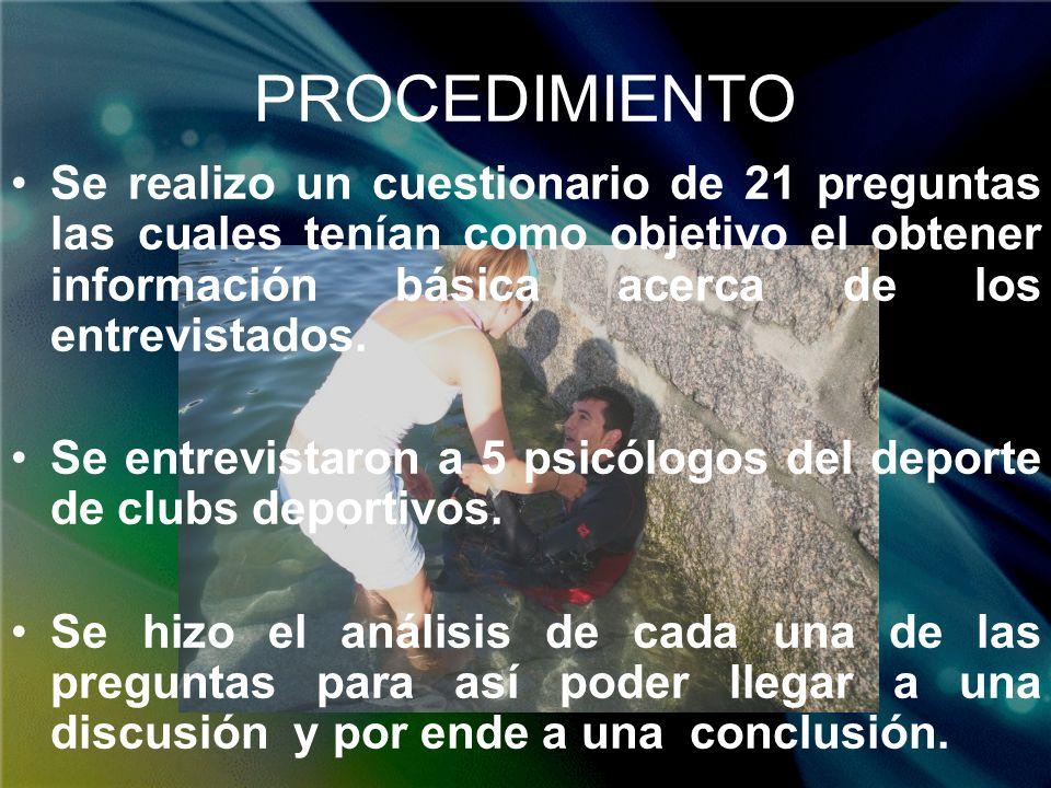 DISCUSIÓN Los psicólogos del deporte se enfocan principalmente a la estimulación, en distintos pacientes (jóvenes ) en donde predomina la ayuda en la autoestima y superación personal.