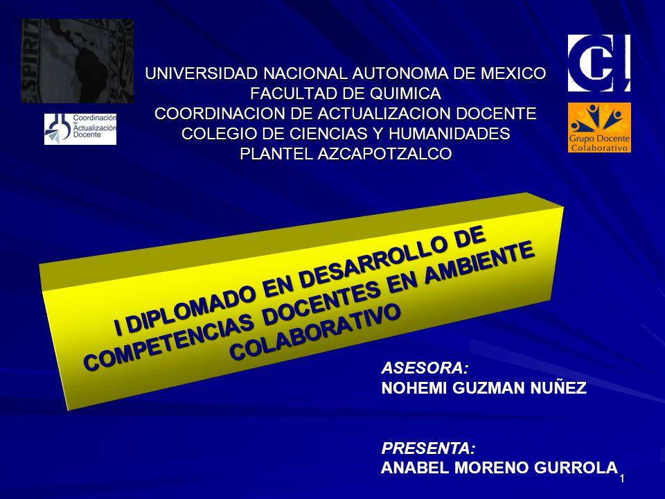 1 UNIVERSIDAD NACIONAL AUTONOMA DE MEXICO FACULTAD DE QUIMICA COORDINACION DE ACTUALIZACION DOCENTE COLEGIO DE CIENCIAS Y HUMANIDADES PLANTEL AZCAPOTZALCO I DIPLOMADO EN DESARROLLO DE COMPETENCIAS DOCENTES EN AMBIENTE COLABORATIVO I DIPLOMADO EN DESARROLLO DE COMPETENCIAS DOCENTES EN AMBIENTE COLABORATIVO ASESORA: NOHEMI GUZMAN NUÑEZ PRESENTA: ANABEL MORENO GURROLA