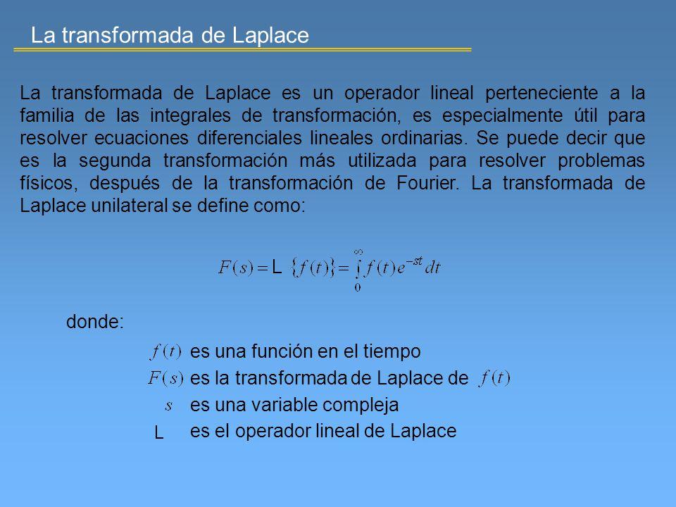 La transformada de Laplace La transformada de Laplace es un operador lineal perteneciente a la familia de las integrales de transformación, es especia