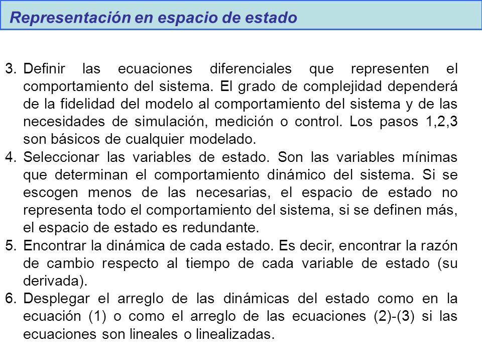 Representación en espacio de estado 3.Definir las ecuaciones diferenciales que representen el comportamiento del sistema. El grado de complejidad depe