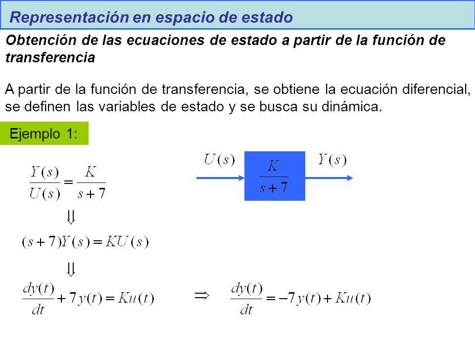 Representación en espacio de estado Obtención de las ecuaciones de estado a partir de la función de transferencia A partir de la función de transferen