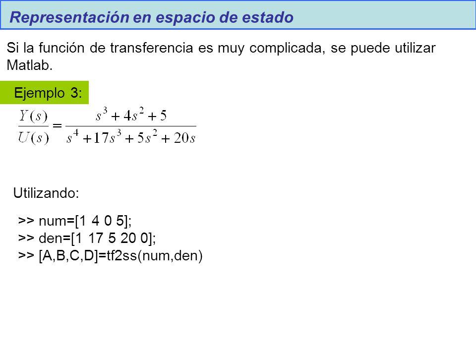 Representación en espacio de estado Si la función de transferencia es muy complicada, se puede utilizar Matlab. Ejemplo 3: >> num=[1 4 0 5]; >> den=[1