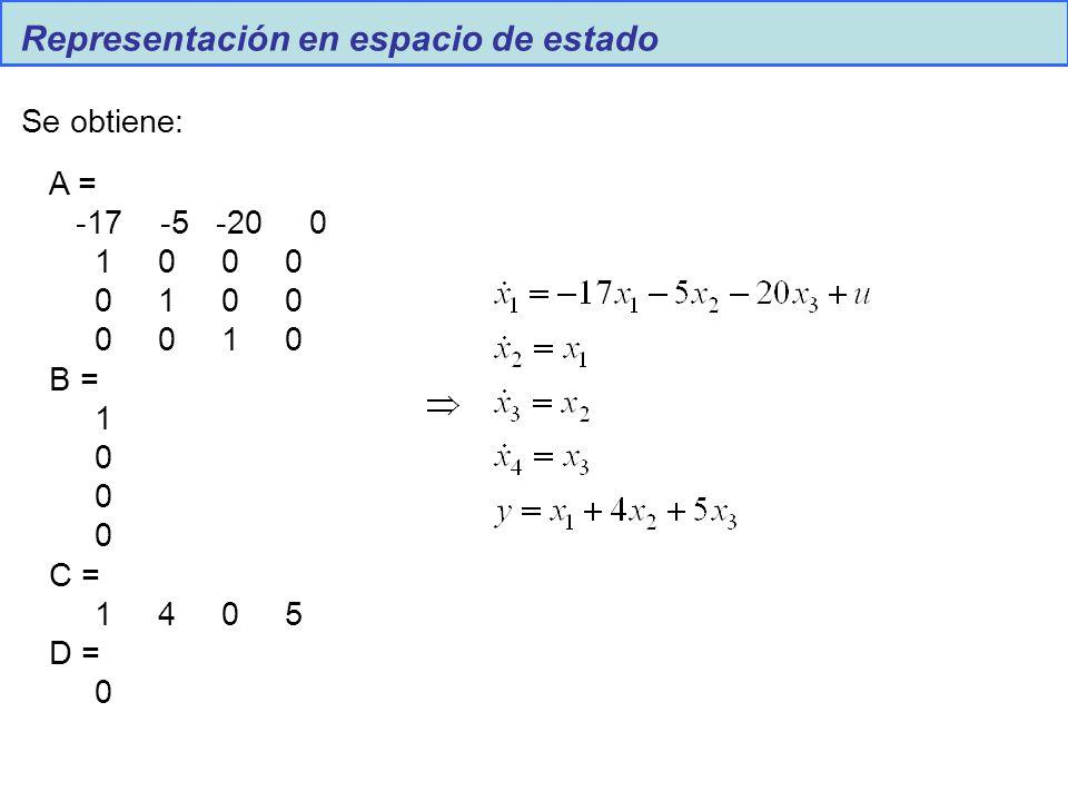 Representación en espacio de estado Se obtiene: A = -17 -5 -20 0 1 0 0 0 0 1 0 0 0 0 1 0 B = 1 0 C = 1 4 0 5 D = 0