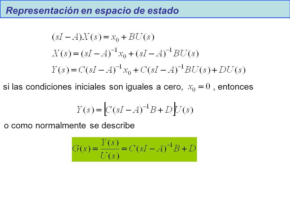 Representación en espacio de estado si las condiciones iniciales son iguales a cero,, entonces o como normalmente se describe