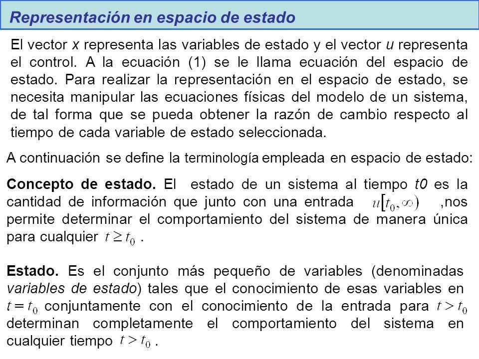 Representación en espacio de estado El vector x representa las variables de estado y el vector u representa el control. A la ecuación (1) se le llama