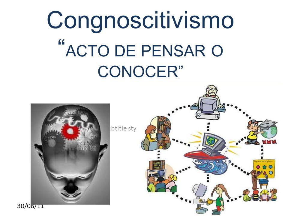 Click to edit Master subtitle style 30/08/11 Congnoscitivismo ACTO DE PENSAR O CONOCER