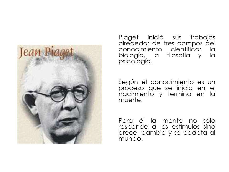 Piaget inició sus trabajos alrededor de tres campos del conocimiento científico: la biología, la filosofía y la psicología. Según él conocimiento es u