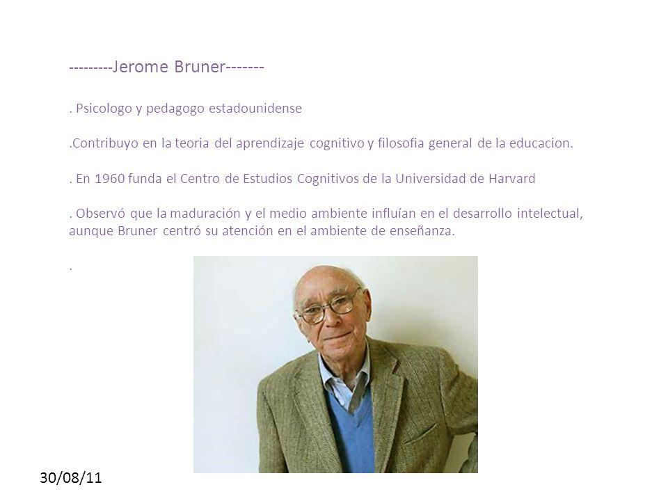 30/08/11 --------- Jerome Bruner-------. Psicologo y pedagogo estadounidense.Contribuyo en la teoria del aprendizaje cognitivo y filosofia general de