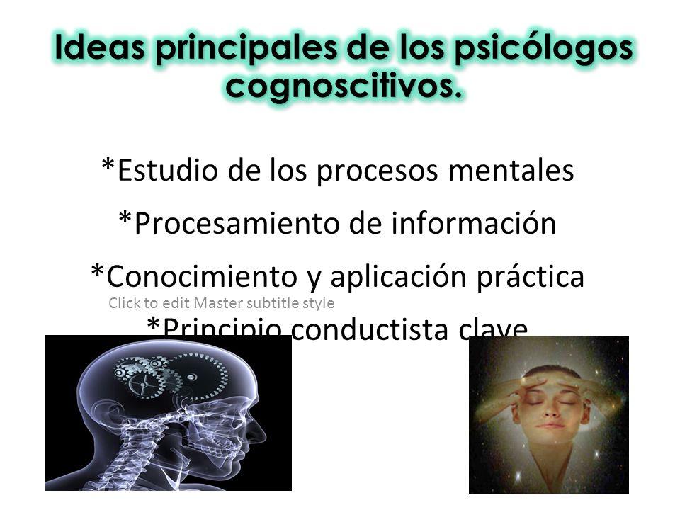 Click to edit Master subtitle style *Estudio de los procesos mentales *Procesamiento de información *Conocimiento y aplicación práctica *Principio con